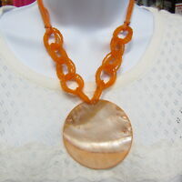 Vintage Shell Necklace MOP Giant Mother of Pearl Medallion Orange Glass Beads