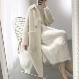 Women Cashmere Mink Fur Loose Long Cardigan Coat Trench Outwear Pocket FK15
