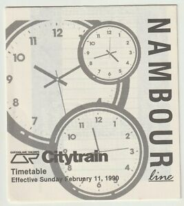 VINTAGE 1990 NAMBOUR TO BRISBANE CITY LINE QLD RAILWAYS PAPER TRAIN TIMETABLE!!!