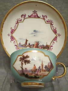 Meissen Porcelain Kauffahrtei Tea Cup & Saucer. 1730 (No 8)
