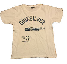 Men's QuickSilver White Print T-Shirt Size M Pre-Owned