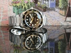 Seiko 5 SNZH57 FFF watch black gold vintage fifty five 55 fathoms MOD warranty J