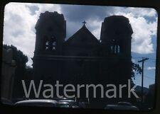 1950s  35mm  red border Kodachrome Photo slide Santa FE NM church cars autos