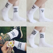 Fashion Sports Socks Unisex Letter Fuck-Off Funny Cotton White Black Skateboard
