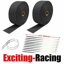 "2 Roll X 2"" 50Ft Black Fiberglass Exhaust Header Pipe Heat Wrap Tape+20 Ties Kit"