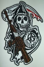"Sons of Anarchy Grim Reaper Biker Patch~4 7/8"" x 3 1/2""~Iron Sew On~Ships FREE"