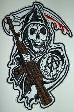 "Sons of Anarchy Grim Reaper Biker Patch ~ 4 7/8"" x 3 1/2"" ~ iron sew on ~ Versand kostenlos"