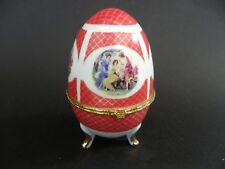 "Limoges Footed Egg Trinket Box Hinged Lid Hand Painted by Vicko, 5"" tall."