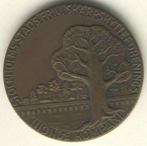 Table medal AB06 Stockholm Shooting Assoc 1949 NIONDE Company Bronze 35mm