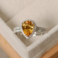 2.35Ct Pear Real Citrine Diamond Engagement Ring Band Set 14K White Gold Size 7