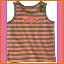 NWT 10 gymboree TROPICAL GARDEN striped TANK TOP SHIRT Flower OLIVE GREEN PINK .