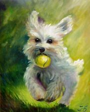 """""""DOG AND BALL"""" BICHON FRISE White Puppy HAND PAINTED Original Oil Painting"""