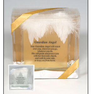 Guardian Angel Glass Plaque with Feathers