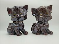 PAIR OF VINTAGE JAPAN REDWARE POTTERY BROWN CAT FIGURINES