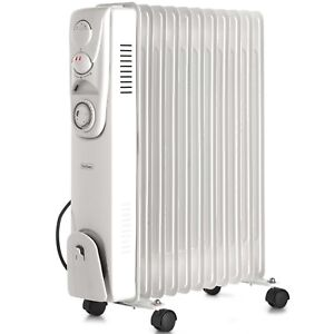 VonHaus Oil Filled Radiator - 2500W 11 Fin Portable Electric Heater with Timer