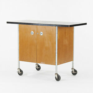Henry P. Glass Rolling Bar Tea Cart Cabinet by Fleetwood Furniture Company Knoll