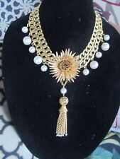 Gorgeous Rhinestone Flower Statement Necklace-Vintage Repurposed OOAK Original!