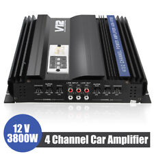 3800W 4 Channel Car Amplifier Stereo Audio HiFi Subwoofer Speakers 12V Amp US