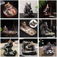 Handmade Backflow Ceramic Double Dragon Glaze Incense Smoke Cone Burner Holder