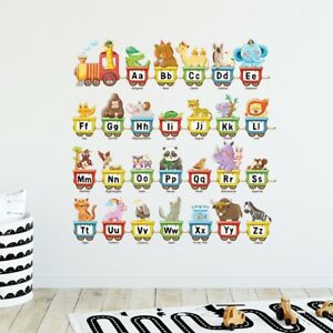 Decowall  DW-2006 Animal Alphabet Train Kids Removable Wall Stickers Decal