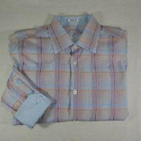 Bugatchi Men's Shaped Fit Button Down Plaid Flip Cuff L Shirt Large