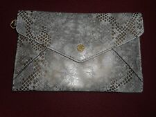 Isaac Mizrahi Live! Nolita Leather Envelope Pouch Champagne Snake New W/O Tassel
