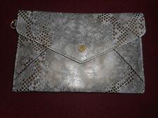 Isaac Mizrahi Live! Nolita Leather Envelope Pouch Champagne Snake New W/O Tassel