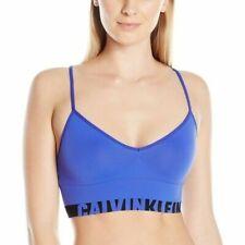 Calvin Klein QF1567 Seamless Logo Longline Multiway Sports Bra Bralette Blue L