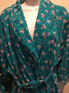 VTG Victoria's Secret Gold Label Green Floral Cotton Robe Sz  PS  Cottagecore