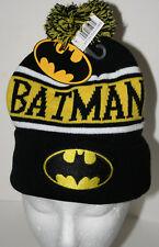 DC Comics Pom-Pom Batman Winter Black & Yellow Knit Cap Hat New 2015