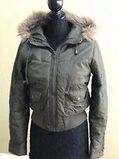 Refuge Puffer Jacket short Faux Fur Hood , Women's Size L, Olive Green