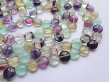 10mm Natural Fluorite Disk Semi Precious Gemstone Beads - Half Strand