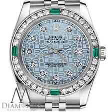 Ladies Rolex 26mm Datejust Ice Blue Color Jubilee Diamond Dial Emerald Watch