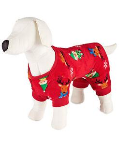 Family Pajamas Pets Fleece Red Elf Pajamas Large
