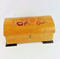 Vintage Antique Jewelry Music Box Reuge Burl Wood Inlay Swiss Italy Chest Wooden