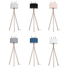 Metal Tripod Floor Lamp 190cm Tall Light Large Fabric Lampshades Home Lighting