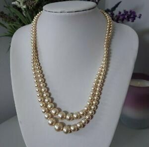 Vintage Retro Cream Round Glass Faux Pearl Graduated Bead Multi Strand Necklace