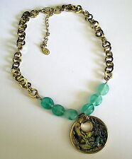Cookie Lee Fashion Abalone shell Aqua Breeze Necklace Gold tone