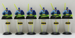 New 6 pack of Batman Superhero Cups with Straws For Little Boys and Girls