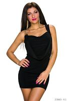 Sexy Minikleid Kettenträger Mini Kleid mit Wasserfall Schwarz Gr. 34 36 38