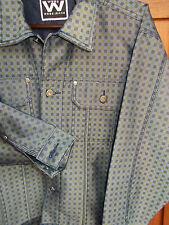Denim Jean Jacket NEW Mens MED Trucker Style Coat Black Blue Green Plaid Webs