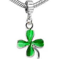 20pcs Green Lucky Clover Leave Silver Dangle European Bracelet Charm Beads D533