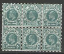 NATAL SG146 1904 ½d BLUE-GREEN BLOCK OF 6 MNH
