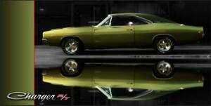 Dodge Charger R/T Green Vinyl Banner 2'x4'  Dodge Plymouth NASCAR