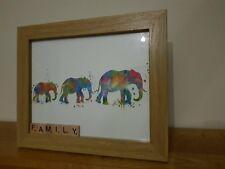 Foto incorniciata 3 Elefanti Bright Pittura Splash Effetto/famiglia nella lettera SCARABEO