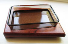 Teak Butter Tray Glass Dish Offset Mid Century Modern Design Olives Condiments