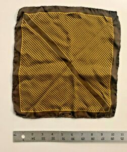 "Vtg AVI ROSSINI Men's Gold Brown Stripe Hand Rolled 10"" Pocket Square 100% Silk"