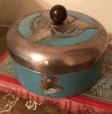 Machine Age Art Deco Turquoise Beauty Dusting Powder Chrome Box Boudoir