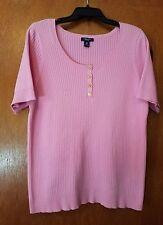 Chaps Plus Size Women's Pink Short Sleeve Sweater - Size 1X