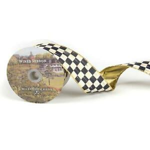 """NEW!  Mackenzie Childs ** 2 YARDS (72"""") ** 2"""" Wide Courtly Check WIRED Ribbon"""